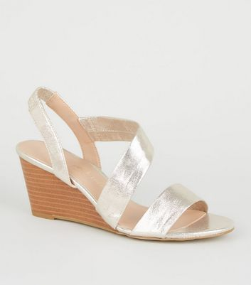 Wide Fit Gold Shimmer Strappy Wedge