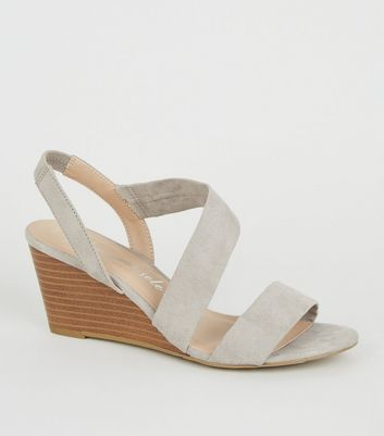 Wide Fit Grey Suedette Strappy Wedge Sandals