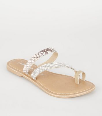 Wide Fit Stone Leather Faux Snake Strap Sliders