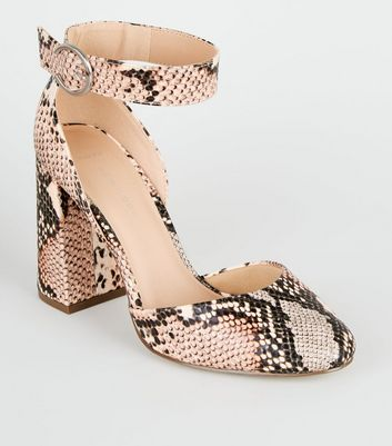 Wide Fit Pink Faux Snake 2 Part Heels