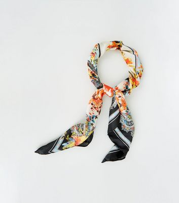 Multicoloured Paisley Floral Satin Scarf