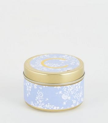 Gold Floral C Initial Tin Scented Candle