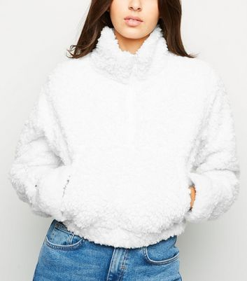 Cameo Rose Cream Faux Fur Half Zip Jumper