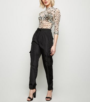 Cameo Rose Black Drawstring Utility Trousers