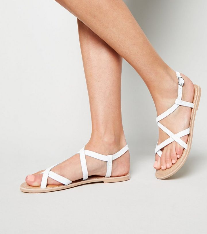 26803ed4157 ... White Leather Faux Croc Strappy Sandals. ×. ×. ×. Shop the look