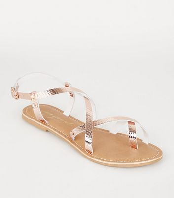 Rose Gold Leather Faux Croc Strappy Sandals