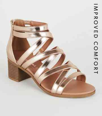 97b3f72b4a Rose Gold Metallic Strappy Low Heel Sandals ...