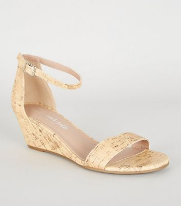 Off White Cork Print Low Wedge Heel Sandals