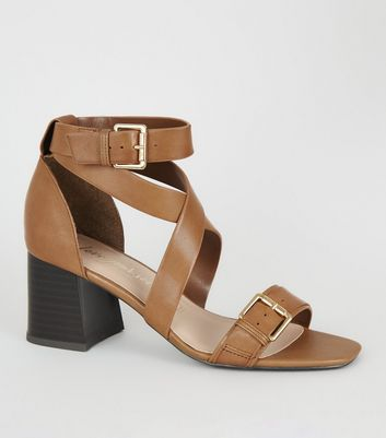 Tan Leather Low Block Heel Sandals