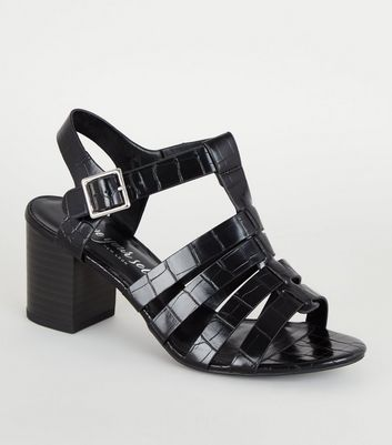 Black Faux Croc Caged Sandals
