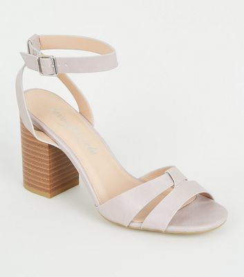 Lilac Leather-Look 2 Part Block Heels