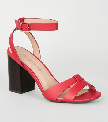 Red Leather-Look 2 Part Block Heels