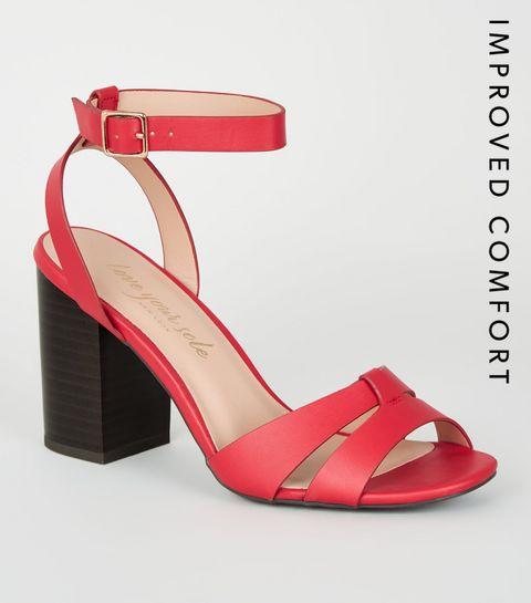 26bd8d6c2b049 ... Red Leather-Look 2 Part Block Heels ...