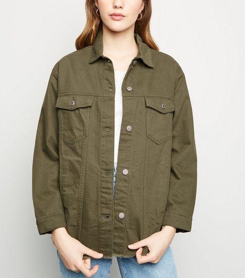 aebbc9af11d ... Khaki Oversized Raw Hem Jacket ...