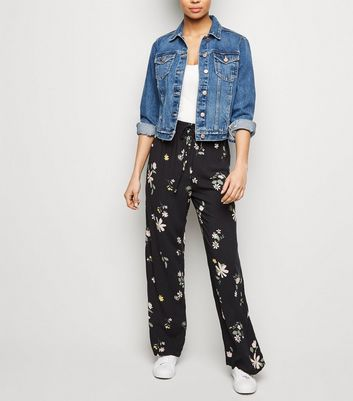 JDY Black Floral Wide Leg Trousers