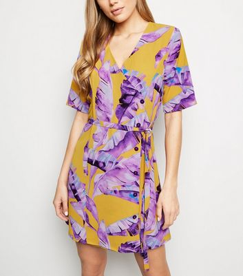 JDY Mustard Leaf Print Button Up Wrap Dress