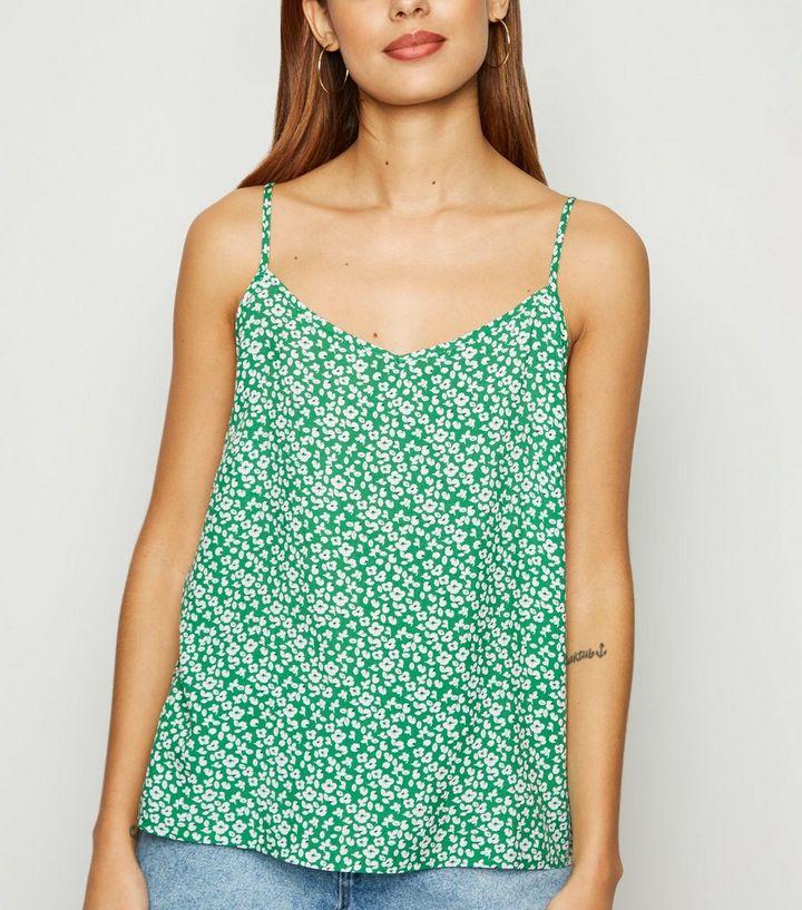 1a583a8e35df89 JDY Green Floral Cami   New Look