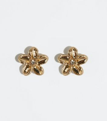Gold Flower Diamanté Stud Earrings
