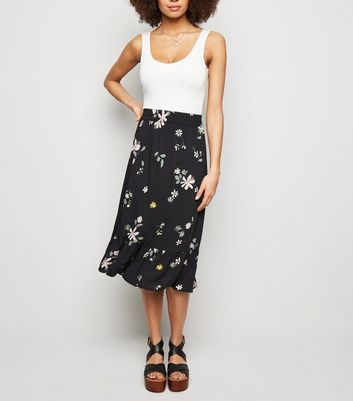 JDY Black Floral Frill Trim Midi Skirt
