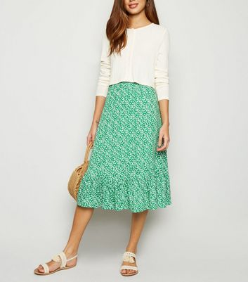 JDY Green Floral Frill Trim Midi Skirt
