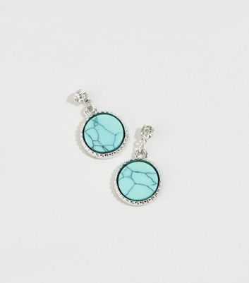 Bight Blue Marble Effect Drop Earrings