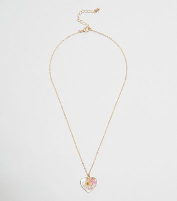 Gold Trapped Flower Heart Pendant Necklace