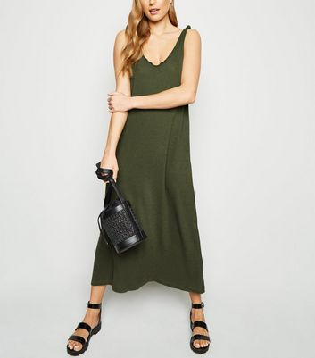 Noisy May Khaki Sleeveless Knit Midi Dress