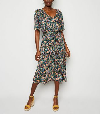 JDY Black Floral Tie Waist Plissé Midi Dress