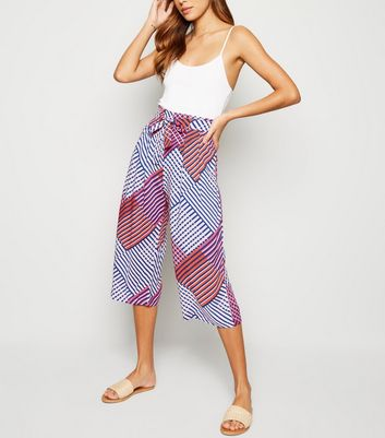 JDY Pink Diamond Print Belted Culottes