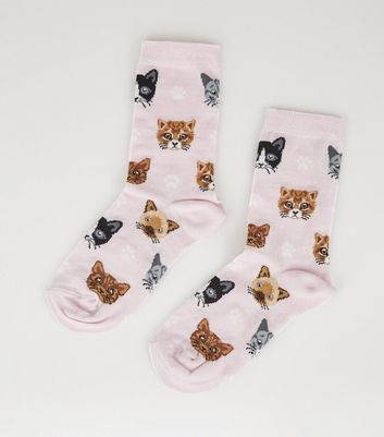 Pink Cat and Paw Print Socks