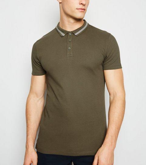 05b56ec68 ... Khaki Stripe Collar Muscle Fit Polo Shirt ...