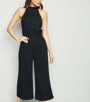 Black High Neck Culotte Jumpsuit