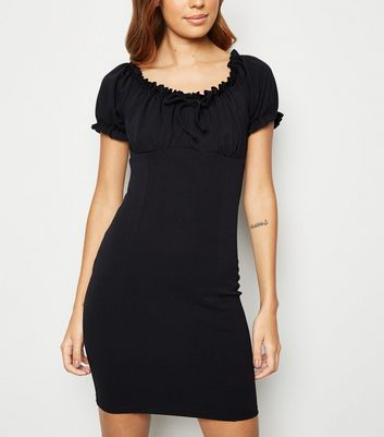 Black Milkmaid Shift Mini Dress