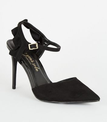 Black Suedette Frill Trim Stiletto Heels
