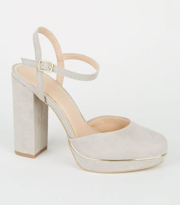 Grey Suedette 2 Part Platform Block Heels