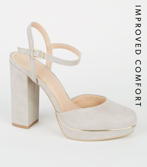 4f6bff0cdf55 ... Grey Suedette 2 Part Platform Block Heels ...