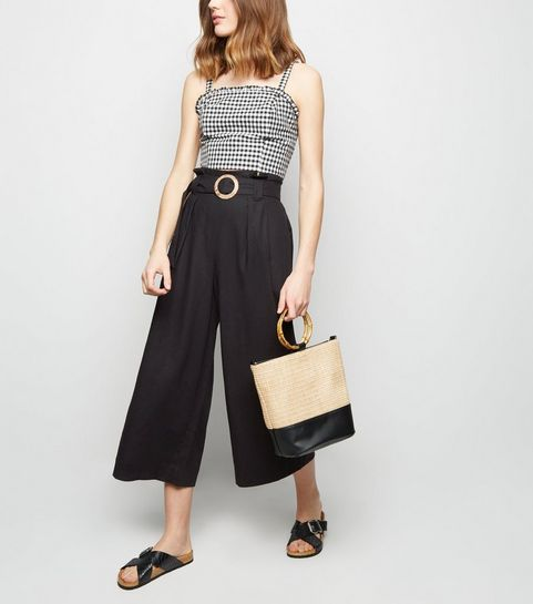 6ee962c41064 ... Black Linen Blend Buckle Cropped Trousers ...
