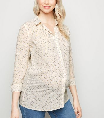 Maternity White Chiffon Heart Print Shirt