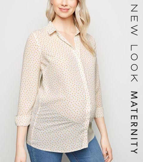 e5040b255c9de ... Maternity White Chiffon Heart Print Shirt ...