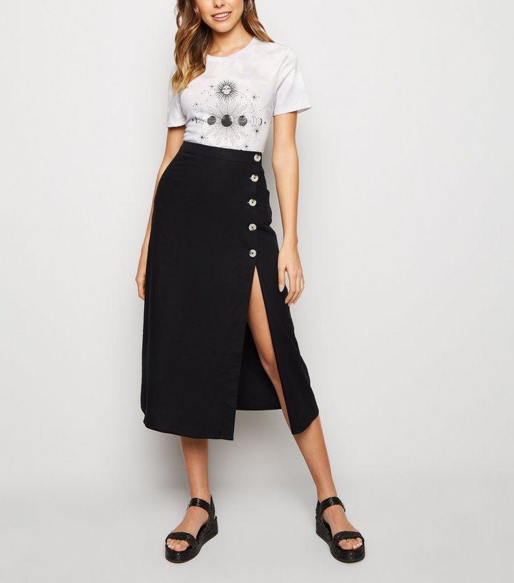 041e93c64c Black Linen Blend Button Front Midi Skirt | New Look