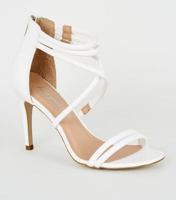 White Strappy Stiletto Heels   New Look