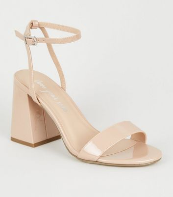 Nude Patent 2 Part Flared Block Heels