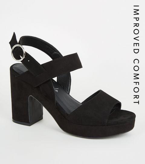 4b351ce02bf ... Black Suedette Platform Block Heels ...