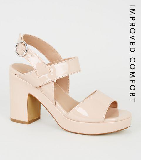 5ed4376d9ee6c ... Nude Patent 2 Part Platform Block Heels ...