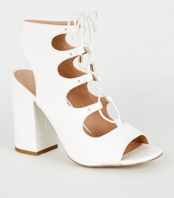 leather cut out lace up sandals
