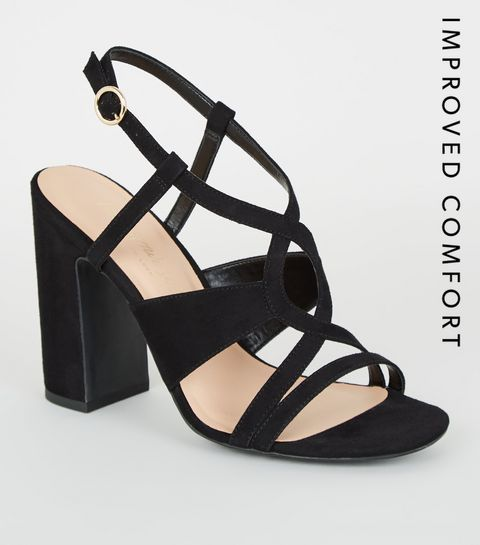 1118c70ba6353 ... Black Suedette Swirl Strappy Block Heels ...
