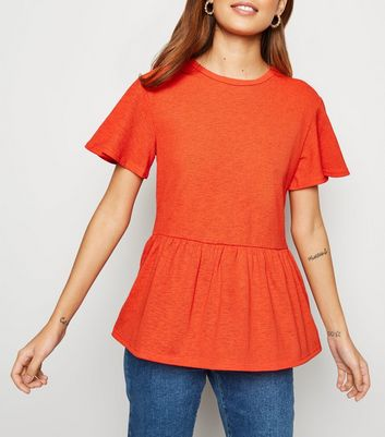 Bright Orange Textured Peplum Top