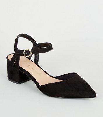 Wide Fit Black Suedette Low Heel Courts