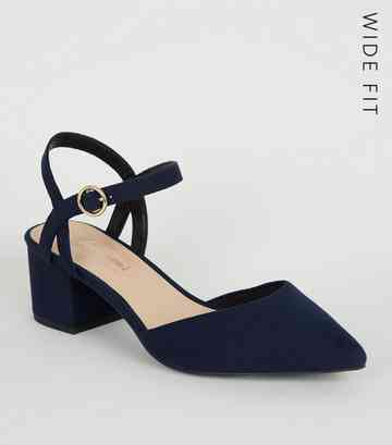 Wide Fit Navy Suedette Low Heel Courts