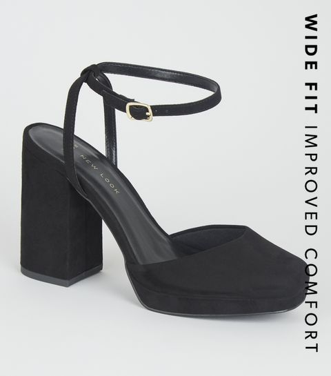 b69f22859fd ... Wide Fit Black Suedette Block Heel Courts ...